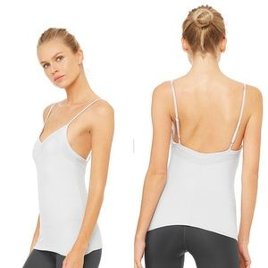 NWT Alo Yoga ALLY FITTED TANK Dove Gray Size M